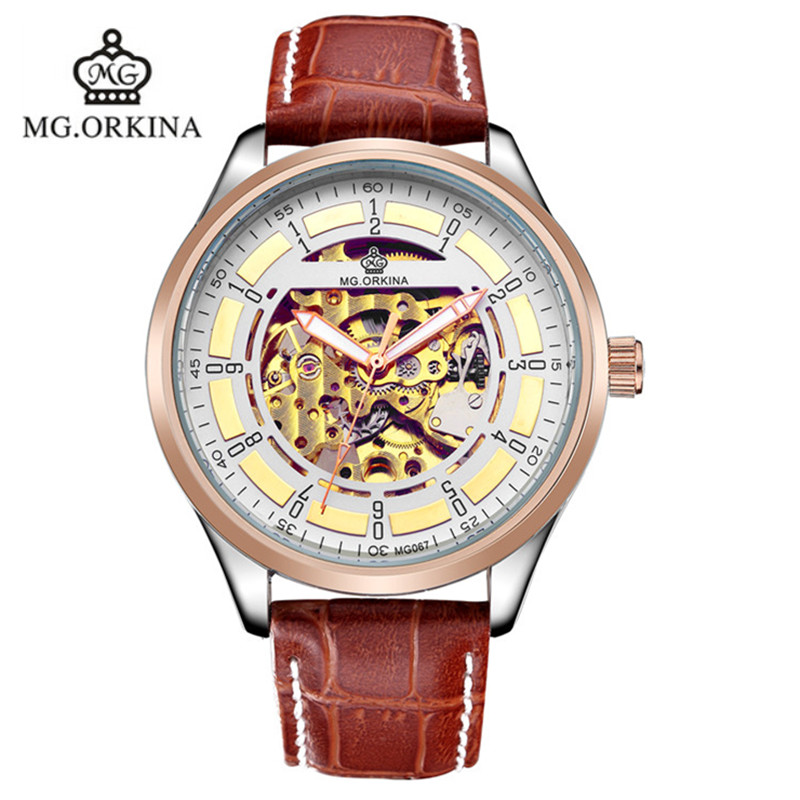 2016 ORKINA Analog Hand Machinery Watch Back Case Transparent Automatic Fastrack Watches For Mens Horloges brand