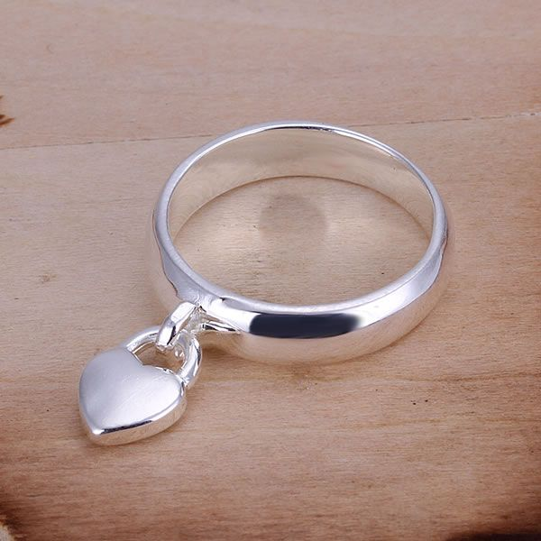 Free Shipping Wholesale silver plated Ring Fashion silver plated Jewelry Heart Lock Ring Nickle Free Antiallergic