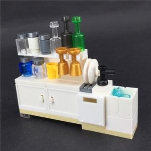 Image 2 - واحد مطبخ دولاب أدوات المائدة كتلة الملحقات MOC الطوب لتقوم بها بنفسك اللبنات الأثاث لتقوم بها بنفسك لعب للأطفال