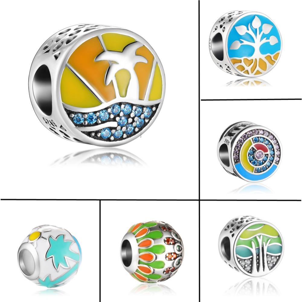 ZMZY New Fresh Antique Original 925 Sterling Silver Charm Bead Summer Enamel fit Pandora Charms Bracelet Women Gift Jewelry