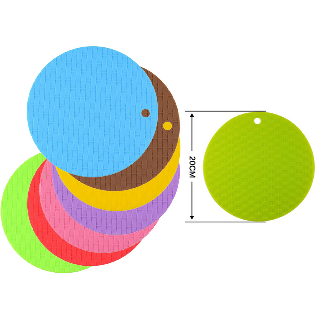 1Pc Round Non-Slip Heat Resistant Mat Coaster Cushion Placemat Pot Holder Silicone Table Mat Kitchen Accessories