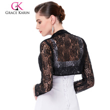 Long Sleeve Lace Bolero Wedding Accessories Plus Size Jacket Bridal Wraps Elegant Wedding Shawl Shrug Accessories(China)