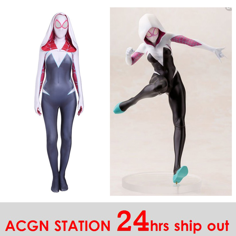 Women Spider-Gwen Cosplay Costumes Spandex White Black Hoodies with Headgear Costumes Suitable for Halloween 24 Hrs Shipped Out