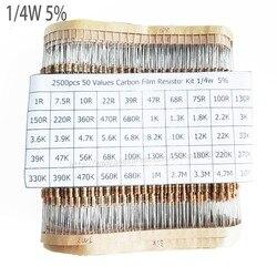 2500 pçs/lote 1/4 W 0.25 w 5% Resistor de Filme de Carbono Kit 50 Valores Variedade Pacote Mix Seleção (1R-10M)