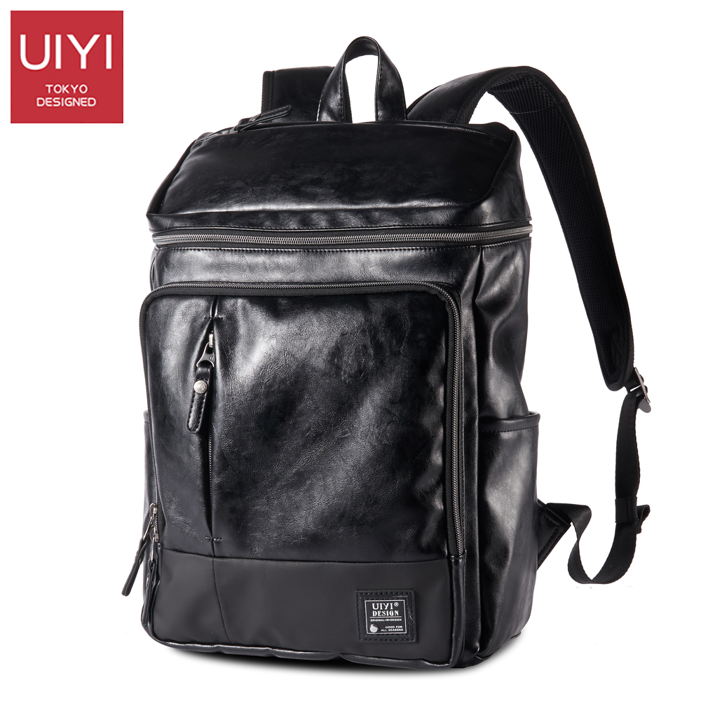 UIYI 2017 new men's backpack PVC shoulder Back bag Black 14 laptop backpack for male Casual Matte color men Solid Bag # UYB7037 uiyi male pvc casual shoulder bag black chest bag for men shoulder