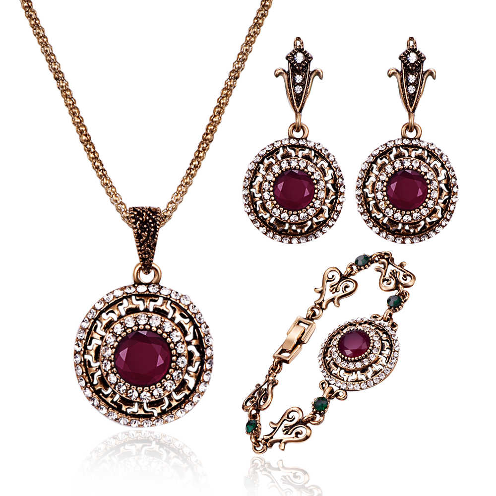 Turkish Crystal Wedding Jewelry Sets For Women Antique Gold Big Round Red/Green Resin Stone Pendant Necklace Earrings Ring Set