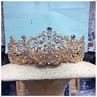 Vintage Gold Pearl Tiara Round Big Crown Crystal Rhinestones Bride Hair Jewelry Queen Crowns For Wedding