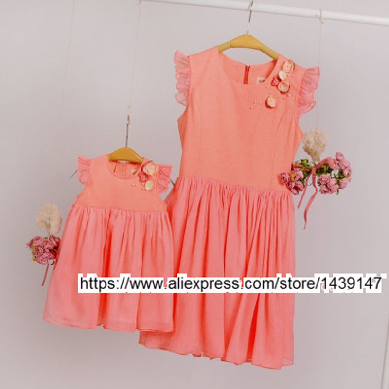 Family fitted family Plus Large size 4xl clothes for Women mother and daughter pleated dress Chiffon dresses children's clothing plus frill trim pleated dress