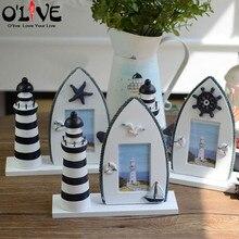 Wooden Photo Frame Mediterranean Style Picture Frames Craft Lighthouse Starfish Framework Children Family Decorative Frame DIY