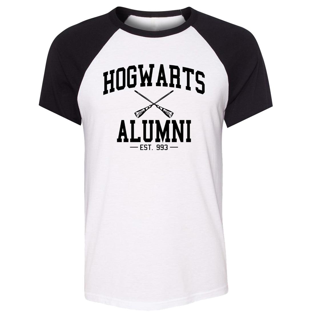 Desain t shirt raglan - Idzn Unisex Musim Panas T Shirt Hogwarts Alumni Est 993 Art Pola Desain Raglan