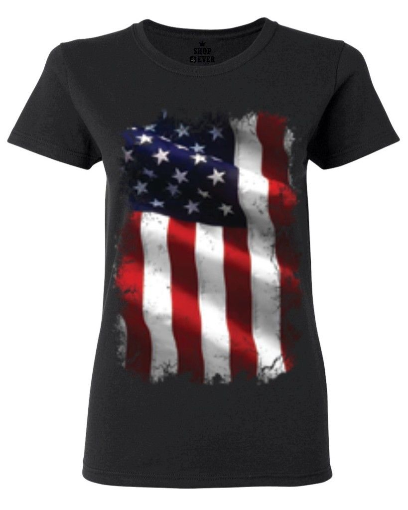Large American Flag Patriotic Women s T Shirt 4th of July USA Flag Shirts Kawaii Punk