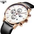 Mens Relojes de Primeras Marcas de Lujo LIGE Hombres Deporte Militar Luminosa Cronógrafo de Pulsera de Cuero Reloj de Cuarzo relogio masculino