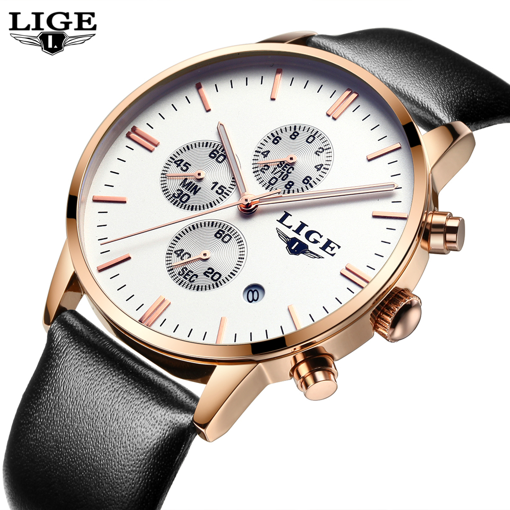 Mens Watches Top Brand Luxury LIGE Men Military Sport Luminous Wristwatch Chronograph Leather Quartz Watch relogio masculino 2017 jedir mens watches top brand luxury military sport quartz watch chronograph luminous analog wristwatch relogio masculino