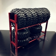 RC 드리프트 카 1/10 휠 림 선반 및 드리프트 타이어 타이어 랙 크롤러 SCX10 레드