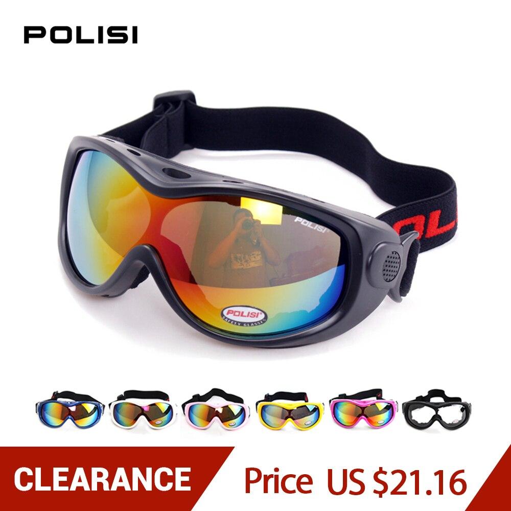 POLISI Winter Snowboard Snow Glasses Men Women Anti-Fog Lens UV400 Ski Goggles Outdoor Snowmobile Skate Eyewear, 8 Colors