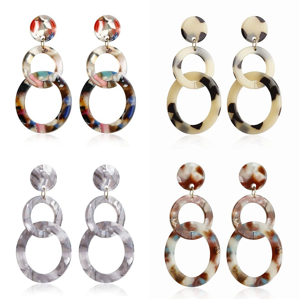 Acrylic Drop Dangle Bohemian Earrings 19 Big Statement Earrings for Women Resin Oval Square Geometric Boho Earrings Jewelry 9