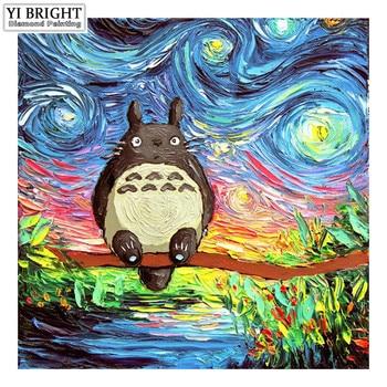 """Cuadro cuadrado/redondo completo 5D DIY pintura de diamante """"My Neighbor Totoro cielo estrellado"""" 3D bordado punto de cruz mosaico decoración del hogar JCC"""