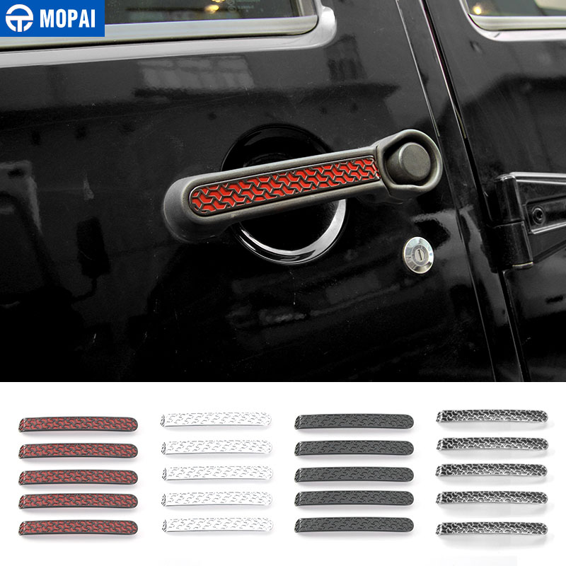 MOPAI ABS Car Exterior Accessories Door Handle Decoration Cover Trim Stickers For Jeep Wrangler 2007 Up Car Styling цена