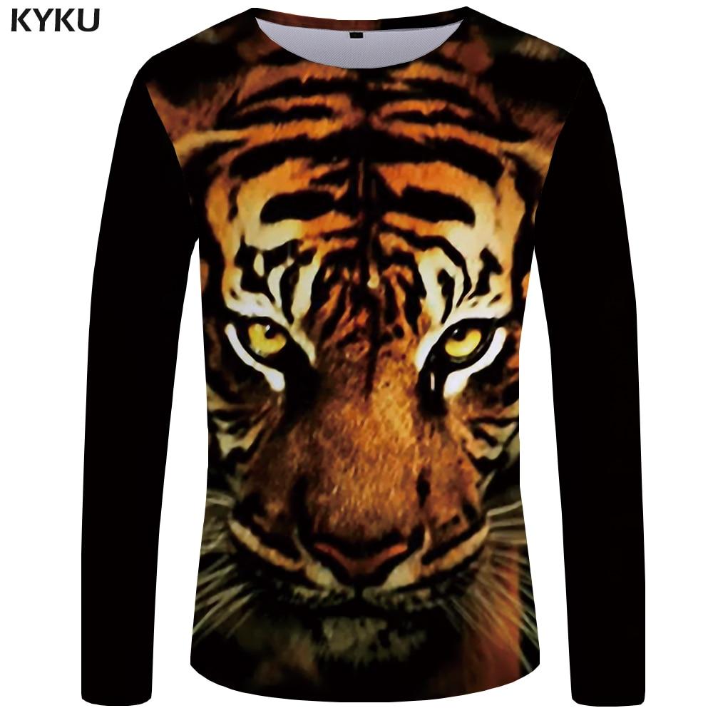 KYKU Brand Tiger T Shirt Men Long Sleeve Shirt Animal Cool Interesting Streetwear Yellow 3d T-shirt Clothes Graphic