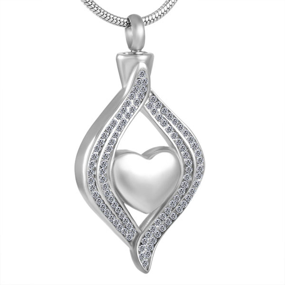 MJD8111 Heart in crystal stainless steel cremation jewelry ashes urn necklace for women men