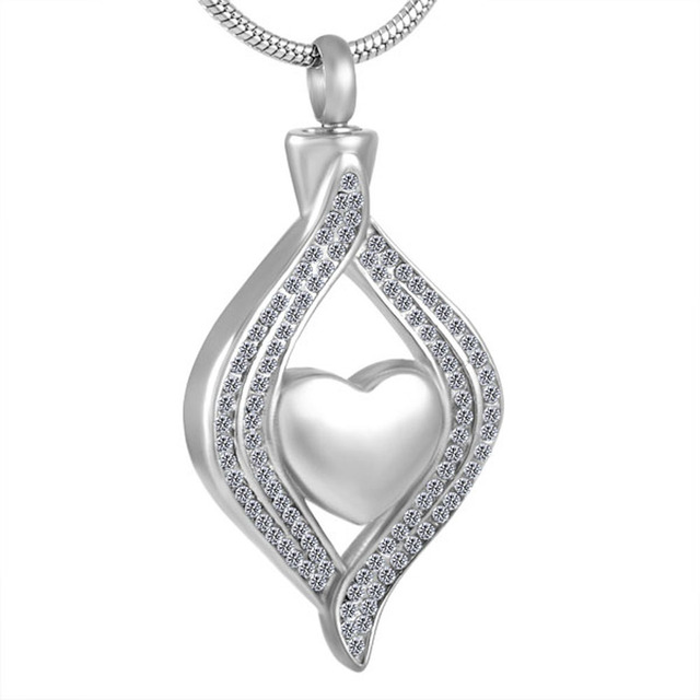 MJD8111 Heart in crystal stainless steel cremation jewelry ashes urn