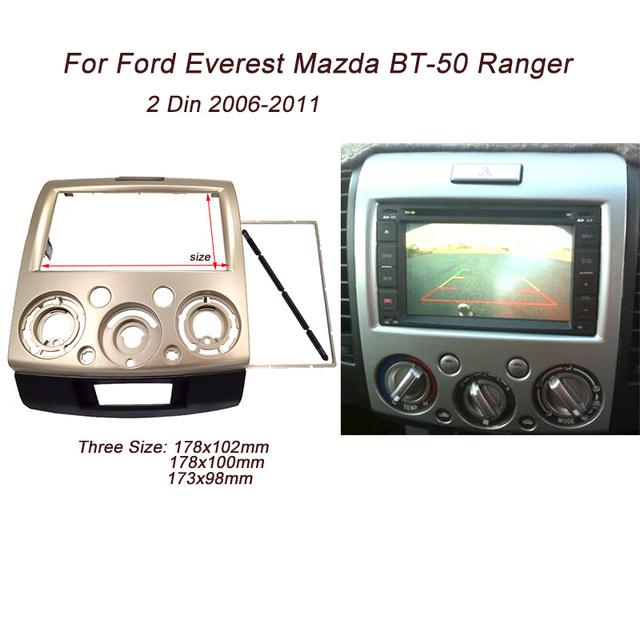 Double 2 Din fascia para Ford Ranger Everest Mazda BT-50 BT50 Rádio Facia Guarnição Kit de Instalação Traço Painel Placa de Cara Bezel