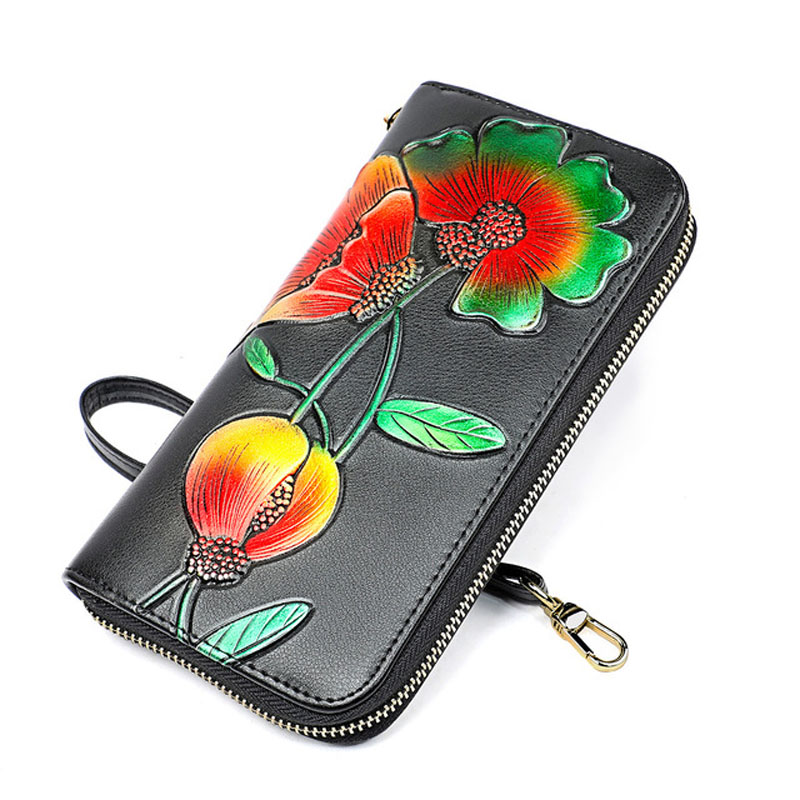 GENMEO New Genuine Leather Wallet Women Cow Leather 3D Flower Purse with Card Holders Female Clutch Dollar Bag Bolsa Feminina in Wallets from Luggage Bags