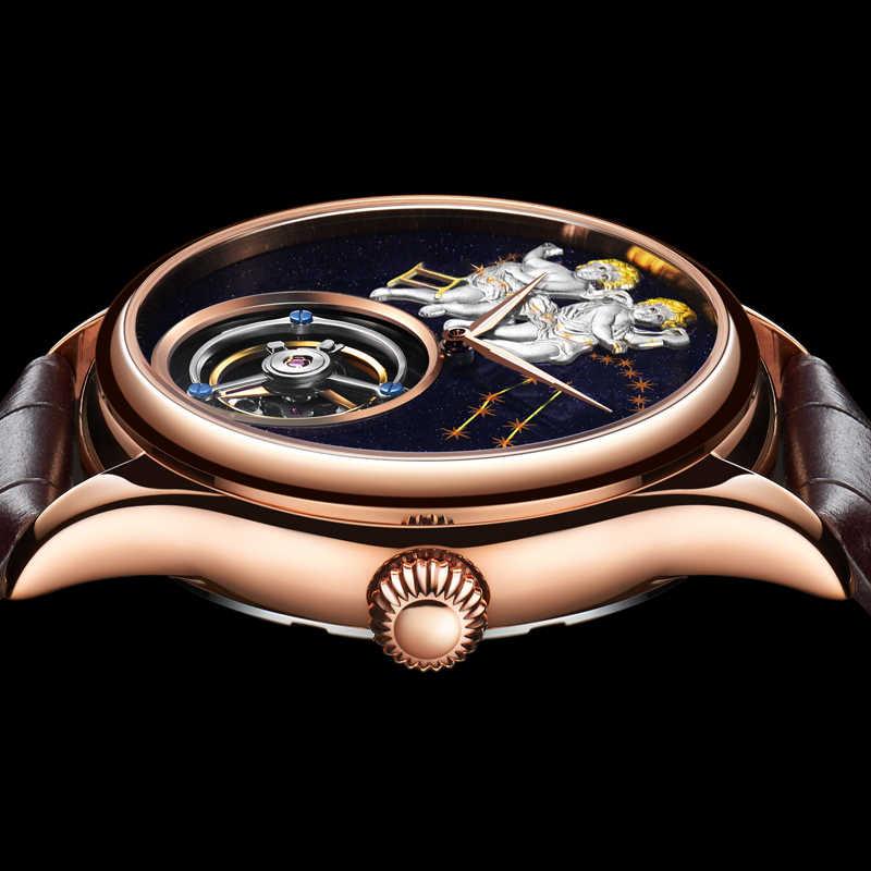 GUANQIN 2020 ريال توربيون اليد الميكانيكية الرياح الرجال الساعات العلامة التجارية الفاخرة الجوزاء ساعة الرجال الذهب الياقوت Relogio Masculino