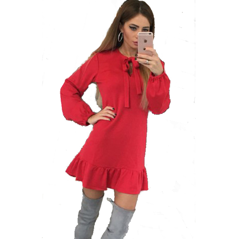 Bow Tie Kawaii Dress Women Cute Party Mini Dress 2017 Ruffles Long-Sleeve Vintage Vestido Casual Des Festa Femme Dresses