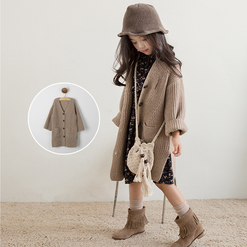 SOKOBX 2018 Winter Girls Cardigan Sweater Kids V Neck Clothes Teenage Single Breasted Kids Sweater Clothing Child With Pocke army green v neck knot sweater