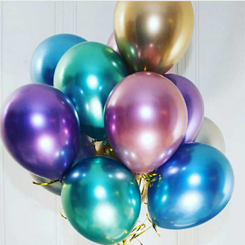 "Popular Glossy Metal Pearl Latex Balloons 10"" Thick Chrome Metallic Colors Inflatable Air Balloons Globos Metalicos Party"