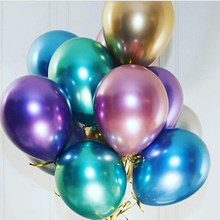 "Popular Glossy Metal Pearl Latex Balloons 10"" Thick Chrome Metallic Colors Inflatable Air Balloons Globos Metalicos Party(China)"