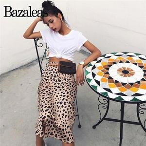 Bazaleas Midi Skirts Slip-Style Leopard-Pattern Slim Vintage Sexy High-Waist Wild Casual