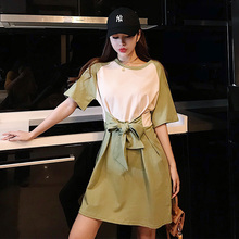 2019 Summer New Womens Dress Korean Fashion Casual Personality Waist Tie Stitching Contrast Female Short Above Knee Mini