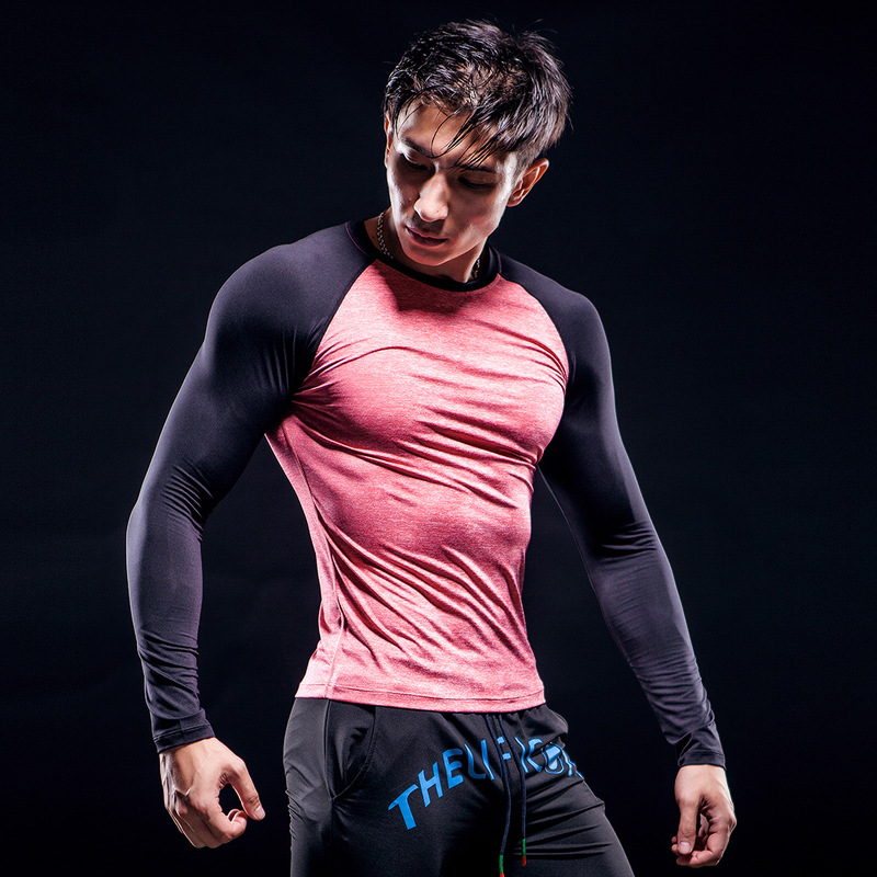 Professional Men Quick dry Tight Cycling Long Sleeve T Shirts Fitness Sport Tops Tees Elastic Bodybuilding