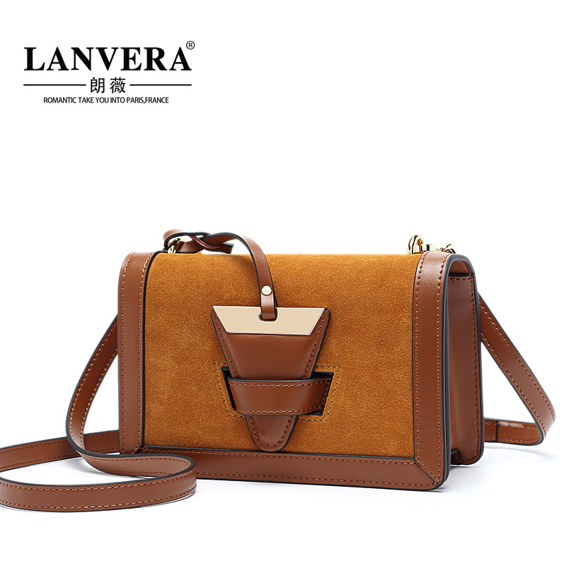 Фото Women Shoulder Bag Cowhide Leather Fashion Hit Color Handbags Frosted Leather Bag High Quality Messenger Crossbody Flap Handbag