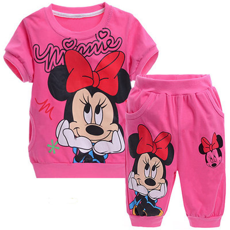 Baby Girls Summer Children Kids Clothes Cartoon Minnie Mickey Short Sleeve T Shirt Shorts Pants Sport Clothing Sets Tracksuit цена