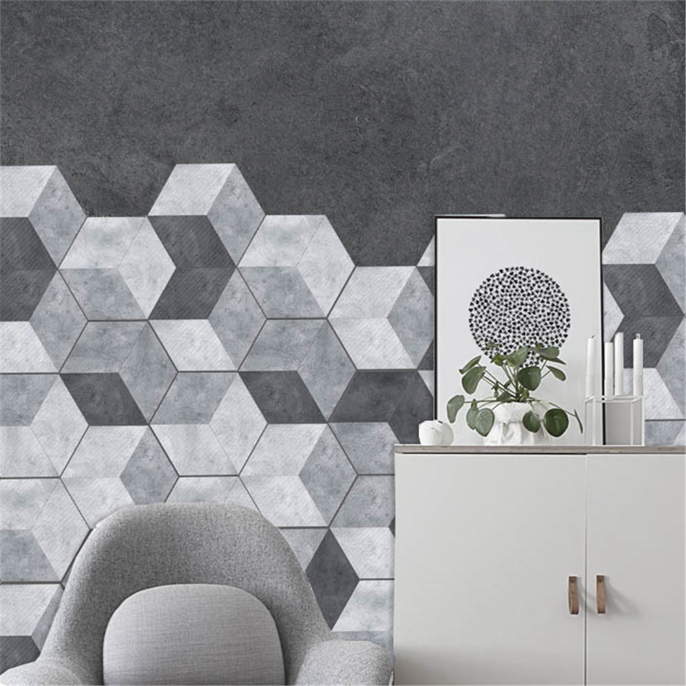 10pcs Hexagonal Wall Tiles Floor Stickers Kitchen Oil