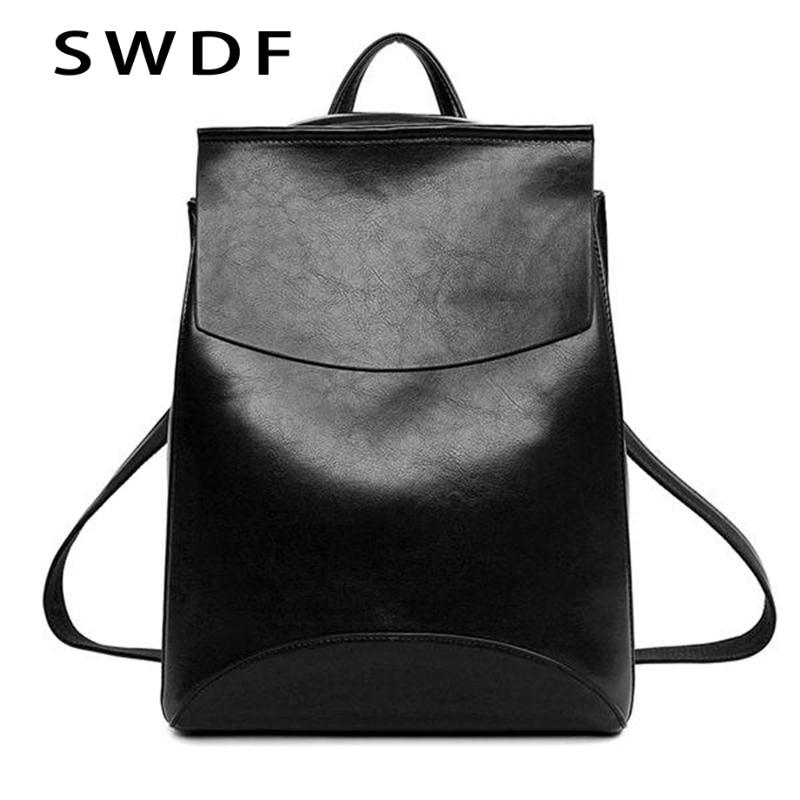 SWDF New Fashion Women Zaino Youth Vintage Leather Zaini Adolescenti New Female School Bag Bagpack mochila sac a dos