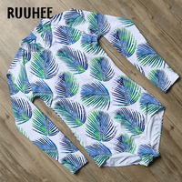 RUUHEE Brand Swimwear Women One Piece Swimsuit Long Sleeves Bodysuit Push Up Bathing Suit Monokini Maillot