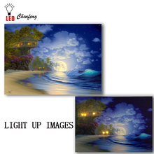 Lighted led canvas print Beautiful Tree House Fantasy Fairy beach seascape painting wall picture art decor gift