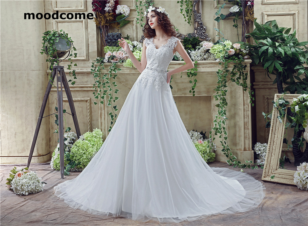 2018 Vintage A Line Wedding Dresses Tulle Sash Lace