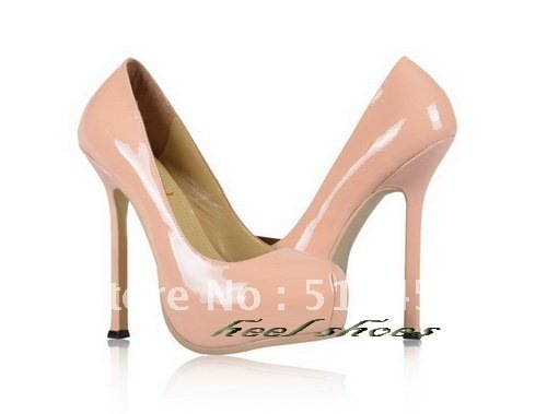 Hot sales fashion women's shoes light pink paten tleather with heels 14cm High Heels platform shoes
