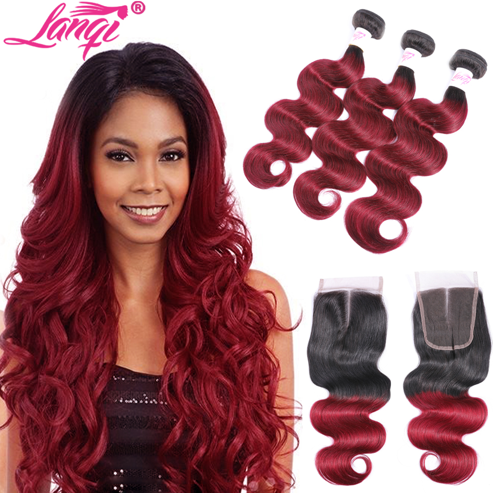 Indian Body Wave Ombre Human Hair 3 Bundles With Closure LanQi 1B/99J Burgundy Bundles With Closure Dark Roots Ombre Wine Red