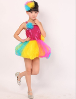 Competition Prom Gown Children's colorful lantern skirt costumes girls dance children Paillette modern dancing dresses clothing