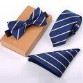 Tblue rayas pajarita corbata pañuelo set