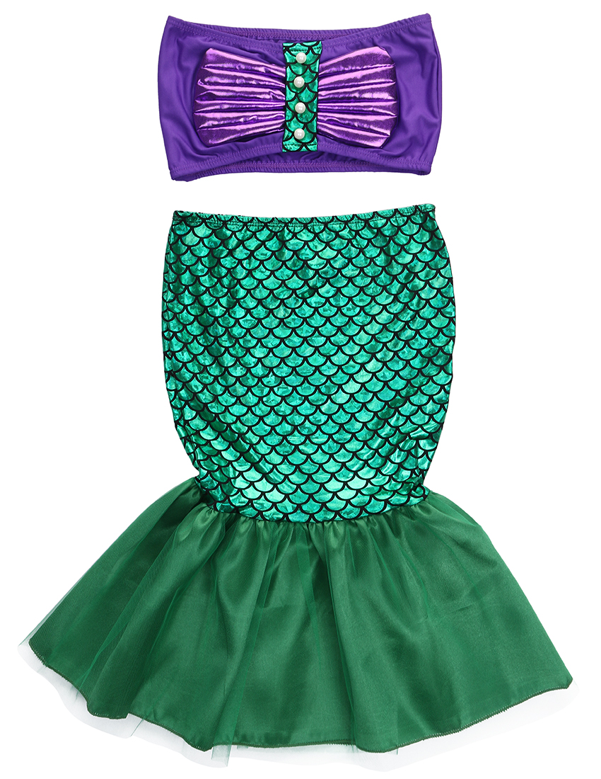Mother & Kids Summer Girls Dress The Little Mermaid Tail Princess Ariel Dress Cosplay Beach Swimsuit Costume For Girl Fancy Halloween Dress Soft And Antislippery