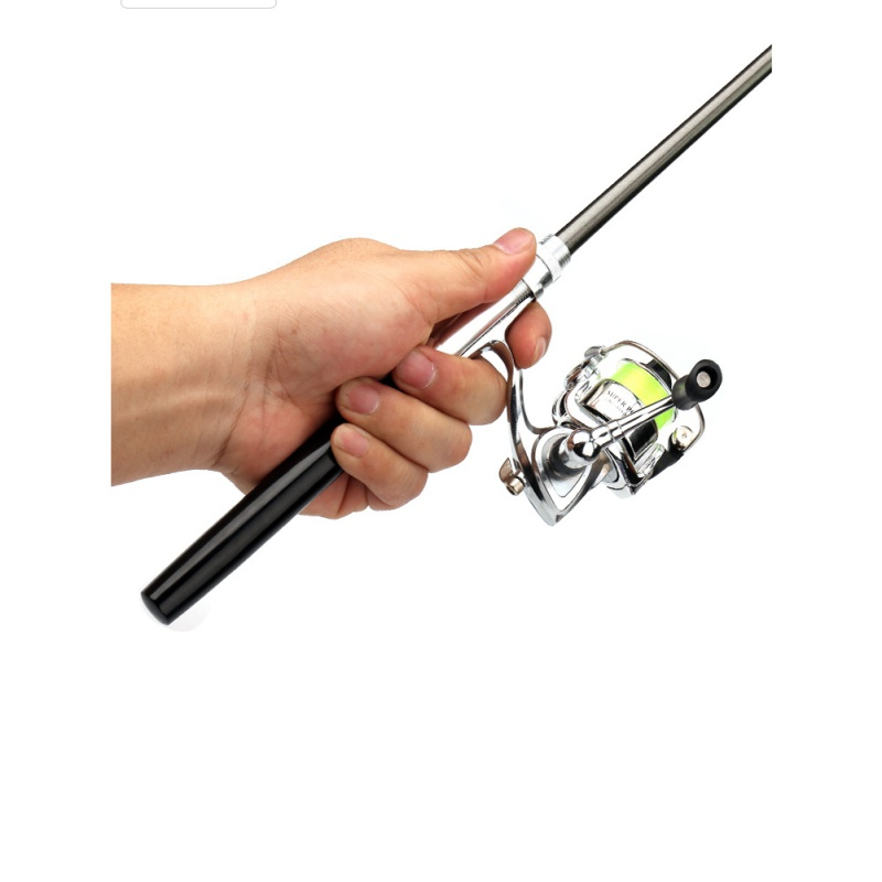 Portable Pocket Mini Fishing Combo Metal Rod +Spinning Reel Wheel Telescopic Fishing Pole Pen Shape Foldable With Box(China)