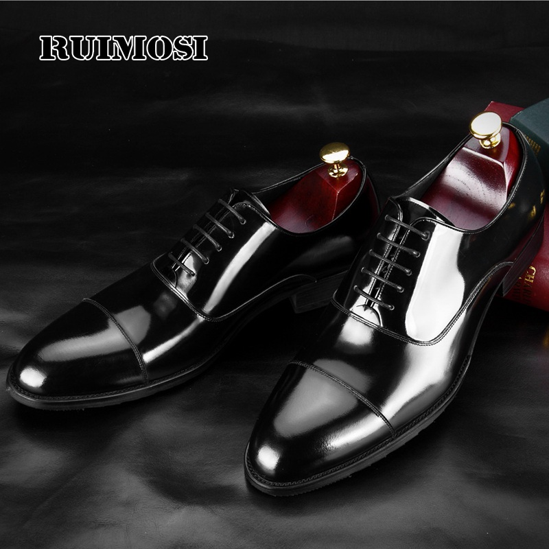 RUIMOSI 2017 Formal Derby Man Dress Shoes Male Patent Leather Handmade Oxfords Luxury Brand Men's Bridal Wedding Flats MG81