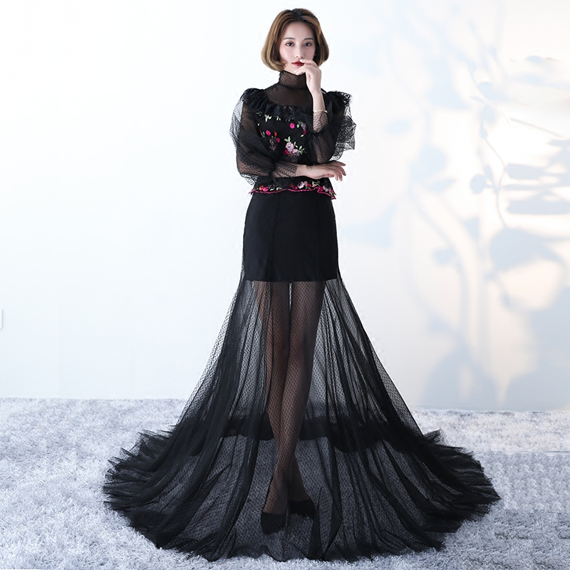 2017 New Arrival Black High Neck Embroidery Zipper 3 4sleeves Evening Dress  Robe De Soiree Modern Sexy Prom Dress Vesta De Festa-in Evening Dresses  from ... b552b5cf5975